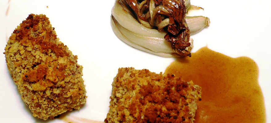 Capocollo di maiale con salsa alla birra nera e radicchio di Treviso